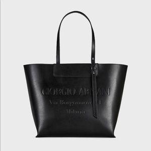 Giorgio Armani Leather Tote w Embossed Logo Black